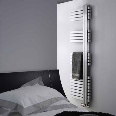 Aeon Combe Vertical Designer Heated Towel Rail Radiator - Brushed Stainless Steel