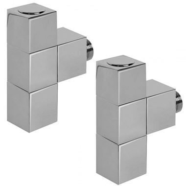 Aeon Cube Manual Radiator Valve - 15mm - Angled - Brushed