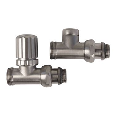 Aeon Decor Straight Radiator Valve Pair - 15mm - Brushed Matt