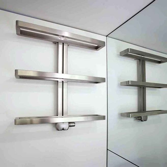 Aeon Gallant Stainless Steel Horizontal Designer Heated Towel Rail Radiator - 750 x 780mm
