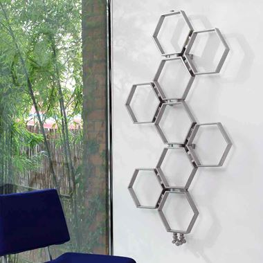 Aeon Honeycomb Stainless Steel Wall Mounted Vertical Designer Radiator - Polished - 580x550