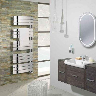 Crosswater Essence Curved Flat Panel Vertical Designer Heated Towel Rail - Chrome