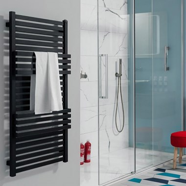 Crosswater Seattle Designer Heated Towel Rail - Metallic Black Matte - 1185 x 500mm