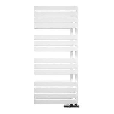Crosswater Svelte Vertical Designer Heated Towel Rail - Soft White Matte - 1100x500