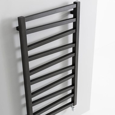 Crosswater Wedge Designer Heated Towel Rail - Metallic Black Matte - 1096 x 500mm