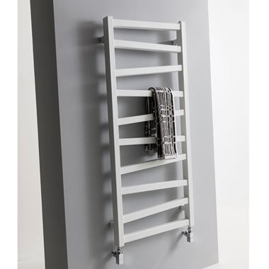 Crosswater Wedge Designer Heated Towel Rail - Soft White Matte - 1096 x 500mm