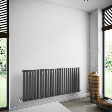 Brenton Oval Single Panel Horizontal Radiator - 635mm x 1440mm - Anthracite