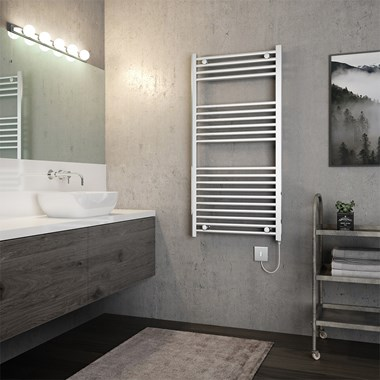 Brenton Apollo Electric Straight Chrome Heated Towel Rail - 22mm - 1200 x 600mm
