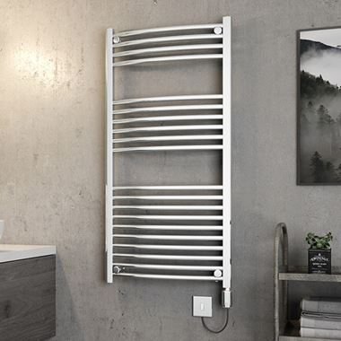 Brenton Apollo Electric Curved Chrome Heated Towel Rail - 22mm - 1200 x 600mm
