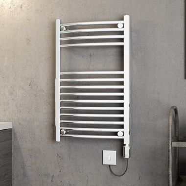 Brenton Apollo Electric Curved Heated Towel Rail - 22mm - 1200 x 500mm - On/Off Element