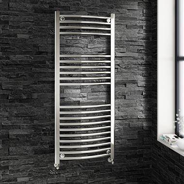 Brenton Chrome Curved Heated Towel Radiator - 22mm - 1200 x 500mm