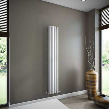 Brenton Oval Double Panel Vertical Radiator - 1600mm x 240mm - White