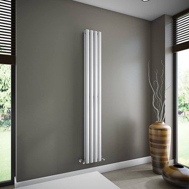 Brenton Oval Double Panel Vertical Radiator - 1800mm x 240mm - White