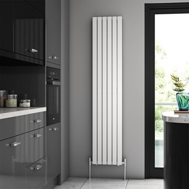 Brenton Flat Double Panel Vertical Radiator - 1800 x 354mm - White
