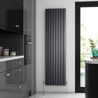 Brenton Flat Double Panel Vertical Radiator -1800 x 472mm - Anthracite