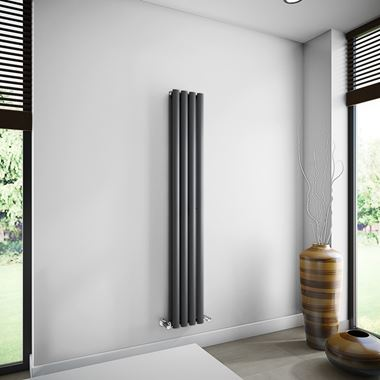 Brenton Oval Double Panel Vertical Radiator - 1600mm x 240mm - Anthracite