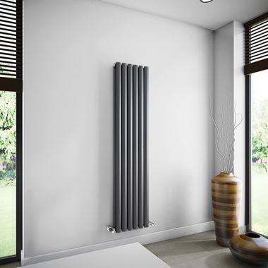Brenton Oval Double Panel Vertical Radiator - 1600mm x 360mm - Anthracite