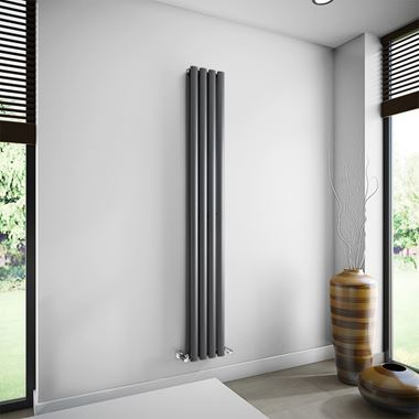 Brenton Oval Double Panel Vertical Radiator - 1800mm x 240mm - Anthracite