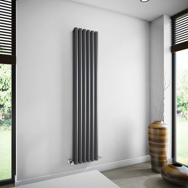 Brenton Oval Double Panel Vertical Radiator - Anthracite - 1800 x 354mm