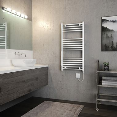 Brenton Apollo Electric Straight Chrome Heated Towel Rail - 22mm - 1000 x 500mm