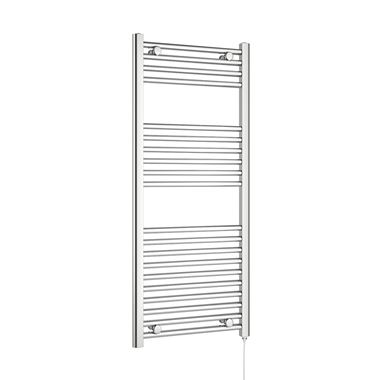 Brenton Apollo Electric Straight Heated Towel Rail - 22mm - 1200 x 500mm - On/Off Element