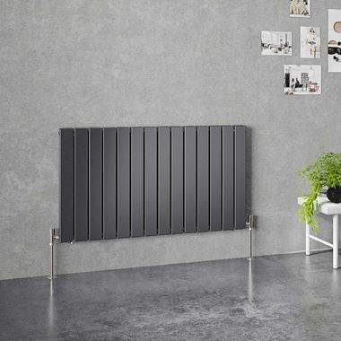 Brenton Flat Double Panel Horizontal Radiator - 600 x 1032mm - Anthracite