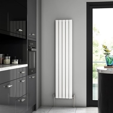 Brenton Flat Double Panel Vertical Radiator - 1600mm x 340mm - White