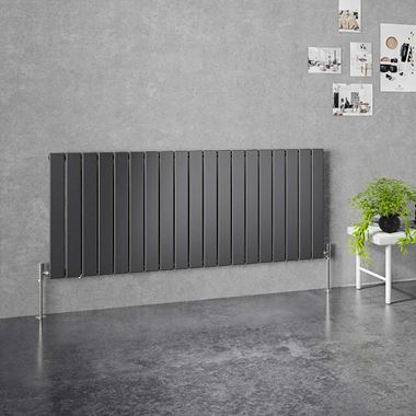 Brenton Flat Single Panel Horizontal Radiator - 600mm x 1402mm - Anthracite