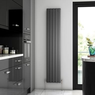 Brenton Flat Single Panel Vertical Radiator - 1800mm x 340mm - Anthracite