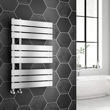 Brenton Fontana Chrome Flat Panel Offset Heated Towel Rail - 824 x 500mm
