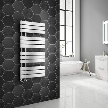 Brenton Fontana Chrome Flat Panel Offset Heated Towel Rail - 1126 x 500mm