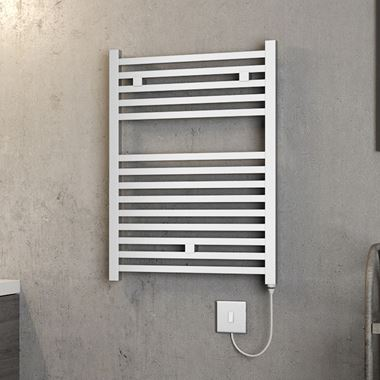 Brenton Helios Electric Straight Square Chrome Heated Towel Rail - 690 x 500mm