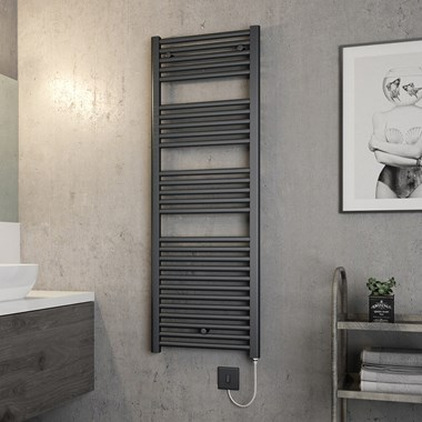 Brenton Hestia Electric Straight Anthracite Heated Towel Rail - 1375 x 480mm