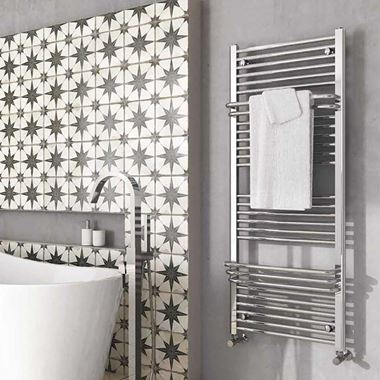 Brenton Osorno Chrome Heated Towel Rail - 1400 x 550mm