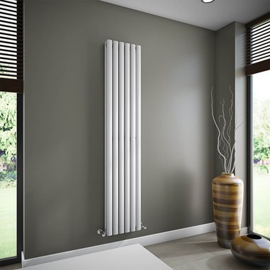 Brenton Oval Double Panel Vertical Radiator - White - 1800 x 354mm