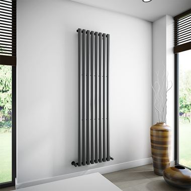 Brenton Oval Single Panel Vertical Radiator - 1800 x 472mm - Anthracite
