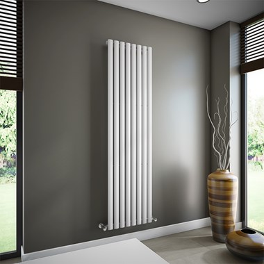 Brenton Oval Single Panel Vertical Radiator - 1800 x 472mm - White