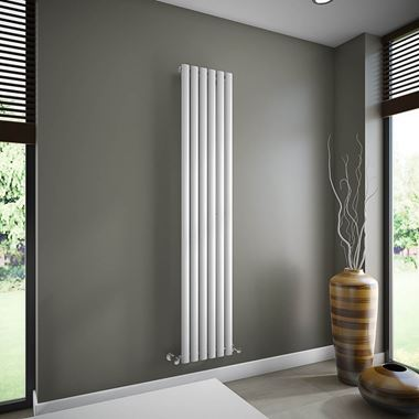 Brenton Oval Single Panel Vertical Radiator - 1800 x 354mm - White