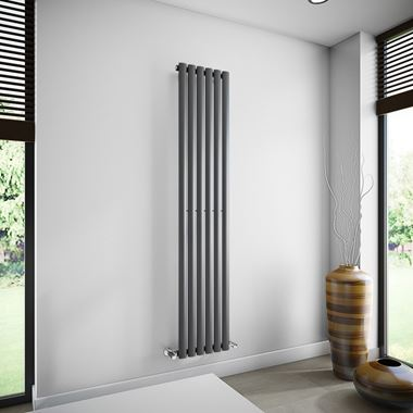 Brenton Oval Single Panel Vertical Radiator - 1800mm x 354mm - Anthracite