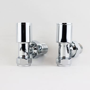 Brenton Round Angled Radiator Valves - Chrome