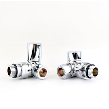 Brenton Round Corner Radiator Valves - Chrome
