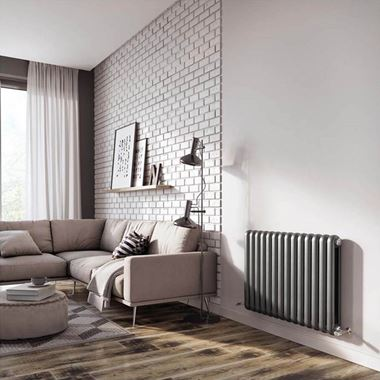 Brenton Saturnia Anthracite Horizontal Column Radiator - 600 x 860mm