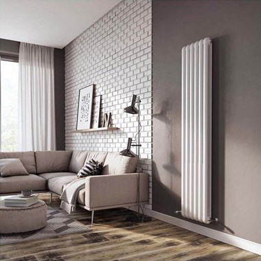 Brenton Saturnia White Vertical Column Radiator - 1800 x 380mm