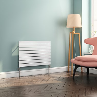Brenton Ruby Flat Panel Horizontal Single Panel Radiator - White - 550x 800mm