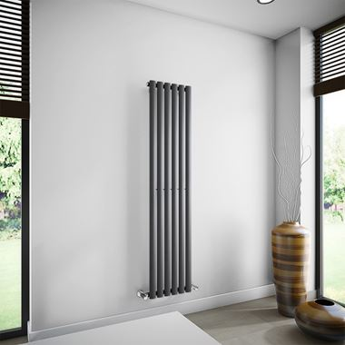 Brenton Oval Single Panel Vertical Radiator - 1600mm x 360mm - Anthracite