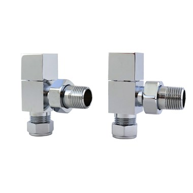 Brenton Square Angled Radiator Valves - Chrome