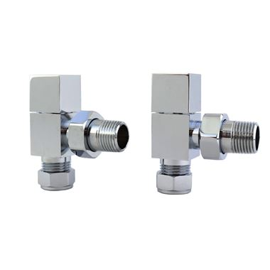 Brenton Square Radiator Valves - Chrome