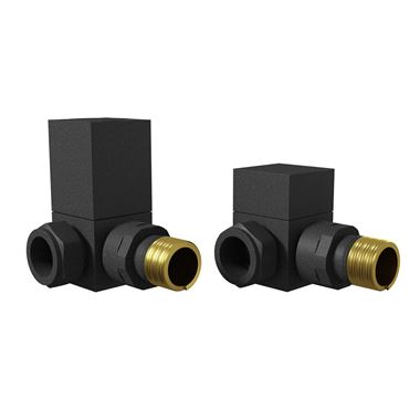 Brenton Square Corner Radiator Valves - Anthracite