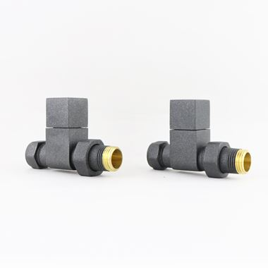 Brenton Square Straight Radiator Valves - Anthracite