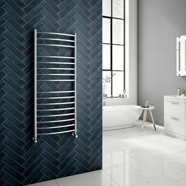 Brenton Fornax Polished Stainless Steel Curved Heated Towel Rail Radiator - 1200 x 500mm